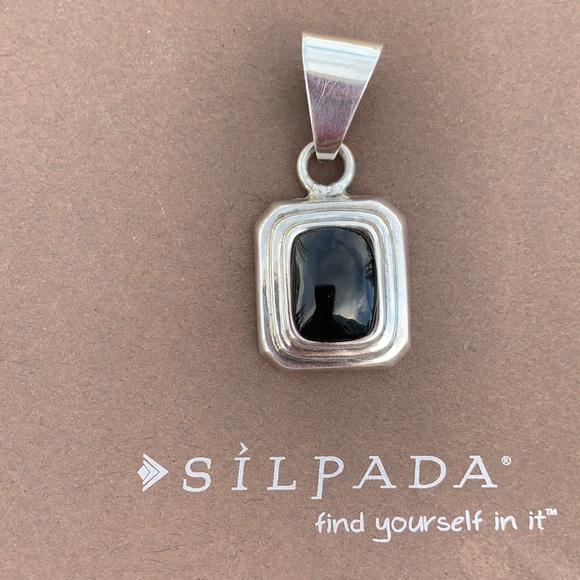 S0113 Silpada retired sterling onyx inlay pendant